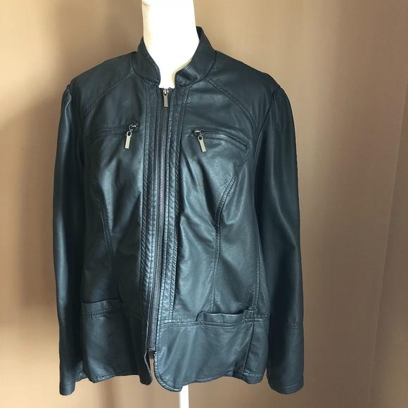 149c8701ff0 Dress Barn Jackets   Blazers - Dress Barn Women s Plus Size Faux Leather  Jacket